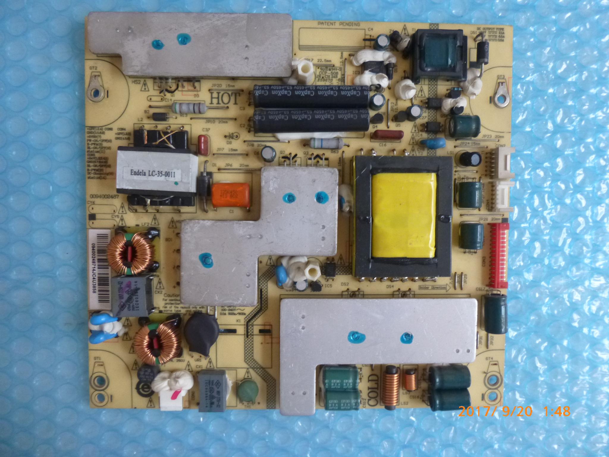 Haier LE37A30 original de télévision à affichage à cristaux liquides de pièces d'origine d'une carte d'alimentation 0094002487 (JSK3121-050)