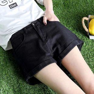 网红爆款牛仔短裤女夏季韩版高腰学生宽松百搭阔腿显瘦破洞卷边