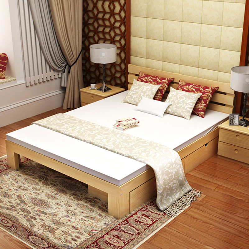 Young girls high economic bed out of the solid wood bed, increase simple bed frame, 1 meters double bed 1.2 meters
