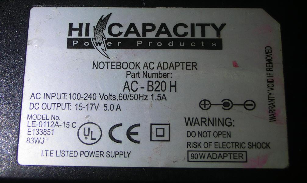 Interruptor de alimentación 17V5A 15 ~, adaptador de corriente (línea de corte de suministro de energía)