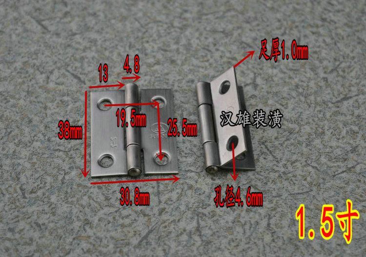 1.5 pulgadas / 38mm3A auténtica caja de joyas de acero inoxidable 304 bolsas pequeñas bisagras de puerta de bisagra de regalos