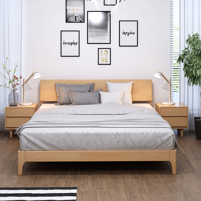 Simple modern Japanese oak bed, Nordic solid wood bed, 1.8 meters, 1.5 bedroom furniture, all solid wood double bed master bedroom