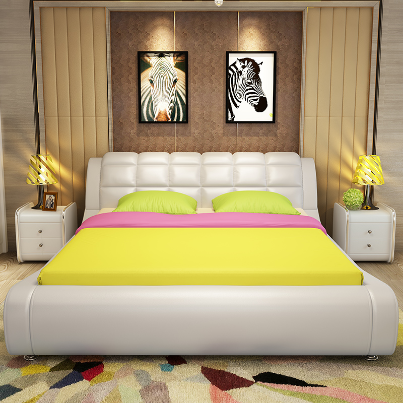 Leather bed small apartment 1.51.8 meters modern simple double leather bed soft soft European style marriage bed furniture