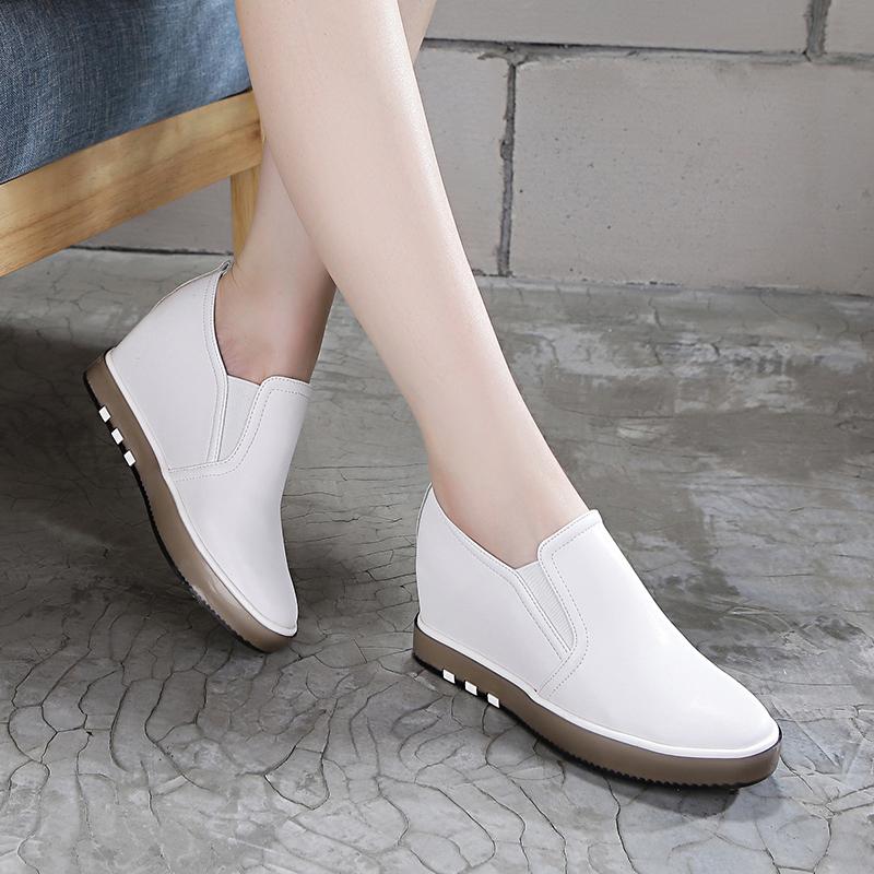 內增高女鞋秋季2017新款百搭坡跟加絨運動休閑韓版真皮鞋小白單鞋