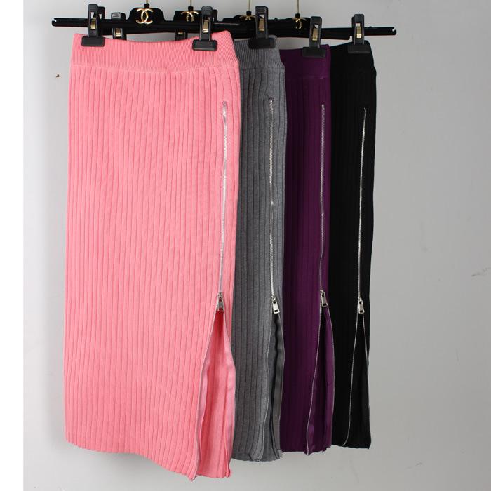 針織拉鏈半身裙女秋鼕chic包臀高腰過膝開叉中長款粉色大碼一步裙