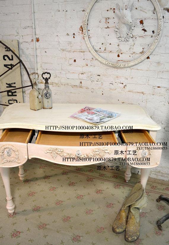 Meubles en bois massif FRANCE EXPORT super belle rose gravé de Caroline série de l'ordinateur de bureau bureau ancien Bureau de maquillage