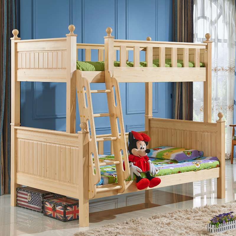 All solid wood bed double bed bed level of parent child bed bed bed pine and children room furniture