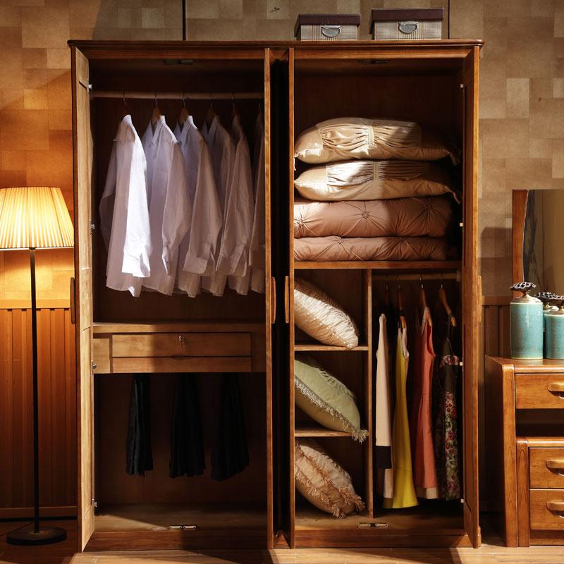 Armario de madera maciza de madera de roble de armario de ropa de abrigo de 4 puertas 3 puertas de madera maciza de montaje moderno dormitorio de adultos más arriba