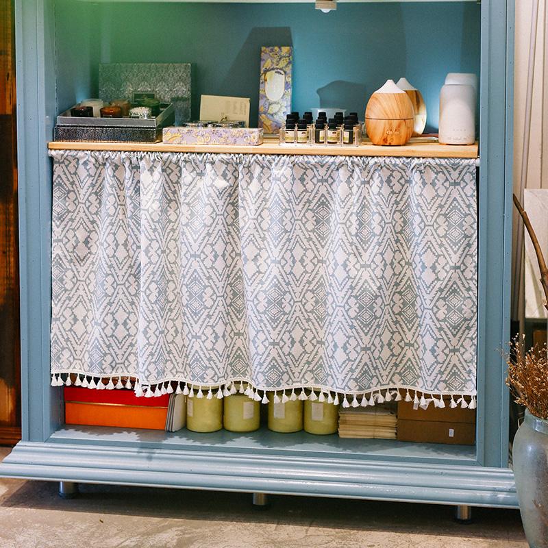 A vida curta de tecido Cortina Cortina, armários de quarto Cortina Cortina de perfuração Livre - estante Pequena janela Cortina curta