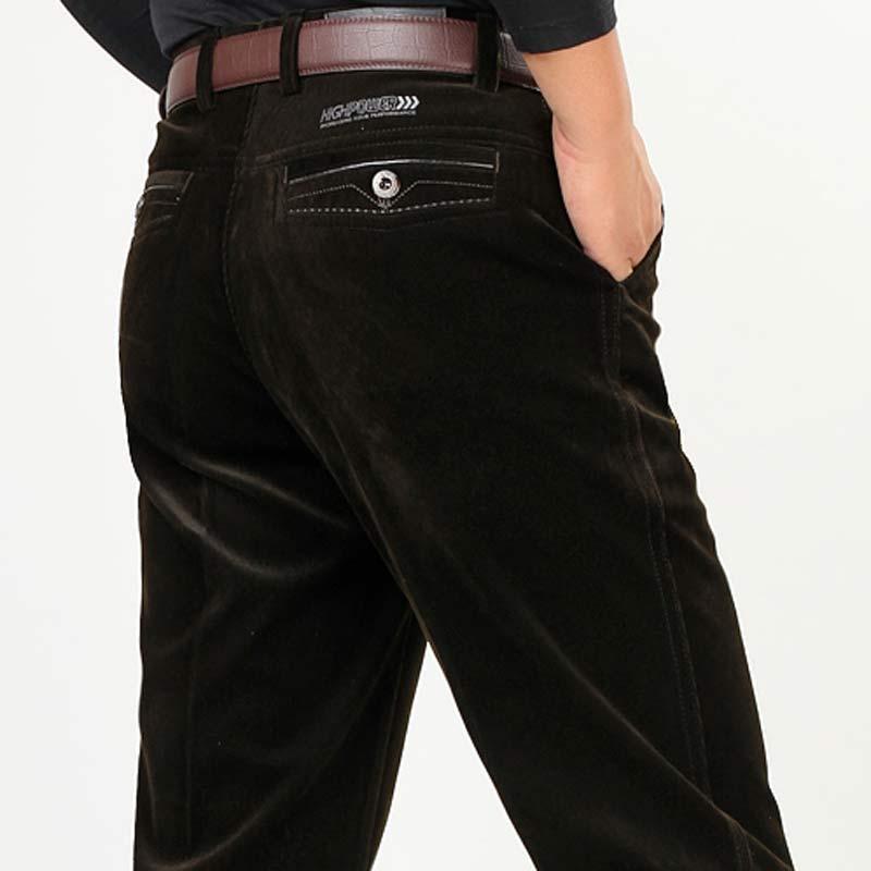 秋冬款男士灯芯绒裤中老年高腰宽松直筒条绒裤弹力休闲裤爸爸裤子