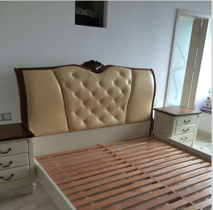 Hongkong Dynasty furniture Nordic style series of genuine M8A002 solid leather, soft double bed