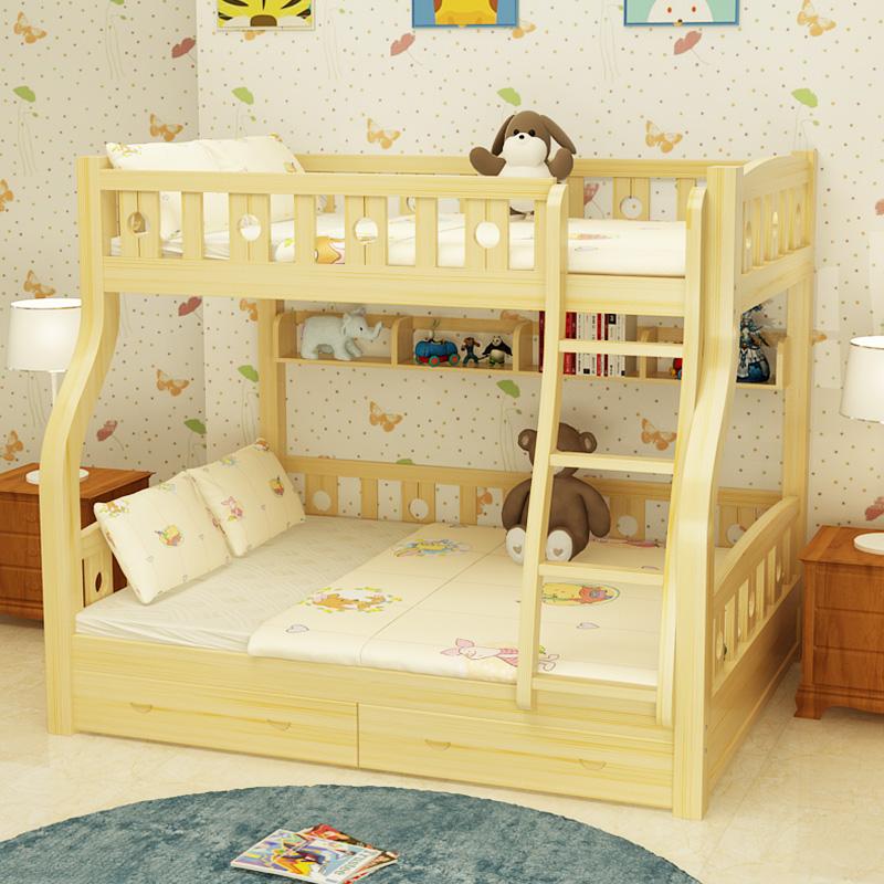 児童のベッドに下を売る露店母ベッド木造高低ベッドに下に母子ベッド全松木床木造床包郵