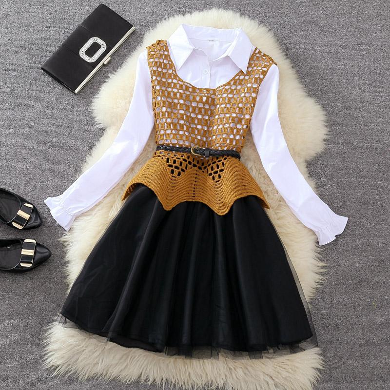 时尚两件套2017秋季新款女装蕾丝镂空背心马甲衬衫长袖连衣裙裙子