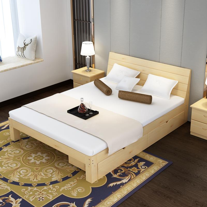 La cama de madera maciza de simple economía nórdica tatami doble adultos de 1,8 m de 1,5 1.2 la cama cama simple