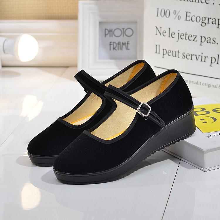 天天特价厚底老北京布鞋女单鞋工作鞋女鞋黑色平跟坡跟舞蹈酒店鞋