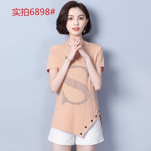 實拍2018夏季韓版中長款大碼女裝燙鉆棉V領寬松顯瘦短袖T恤打底衫