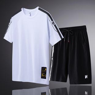 男士运动套装男士短袖2019夏季健身跑步套装运动男T恤短裤两件套