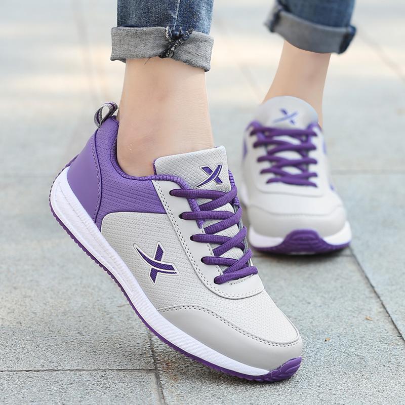 女鞋休闲鞋女秋冬季皮面防水跑步鞋女士运动鞋学生旅游鞋防滑A361