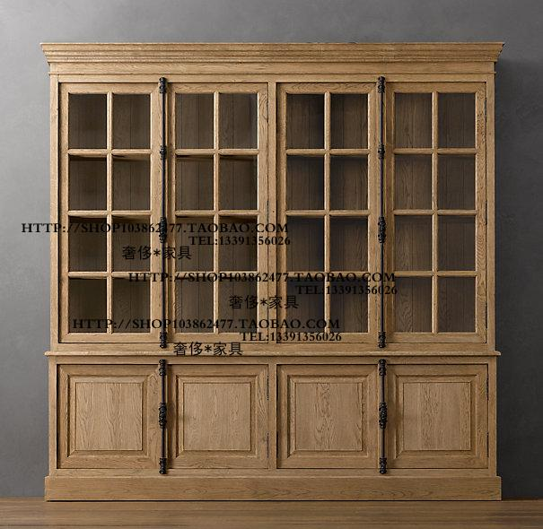 French country style, oak solid wood world lock, antique lock, four door, sideboard, bookcase, glass cabinet