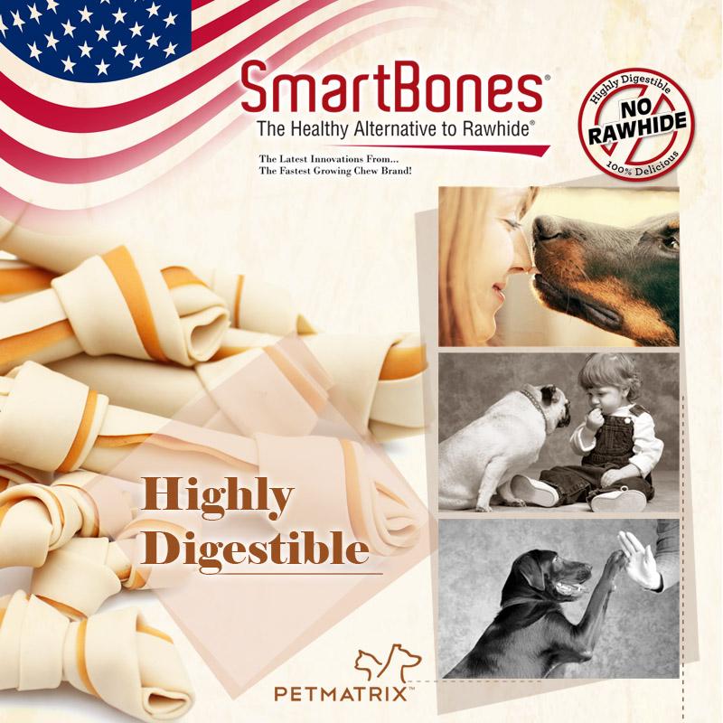 Palo bocadillos de perros cachorros de los Estados Unidos SmartBones mastica dientes resistentes a morder un palo.
