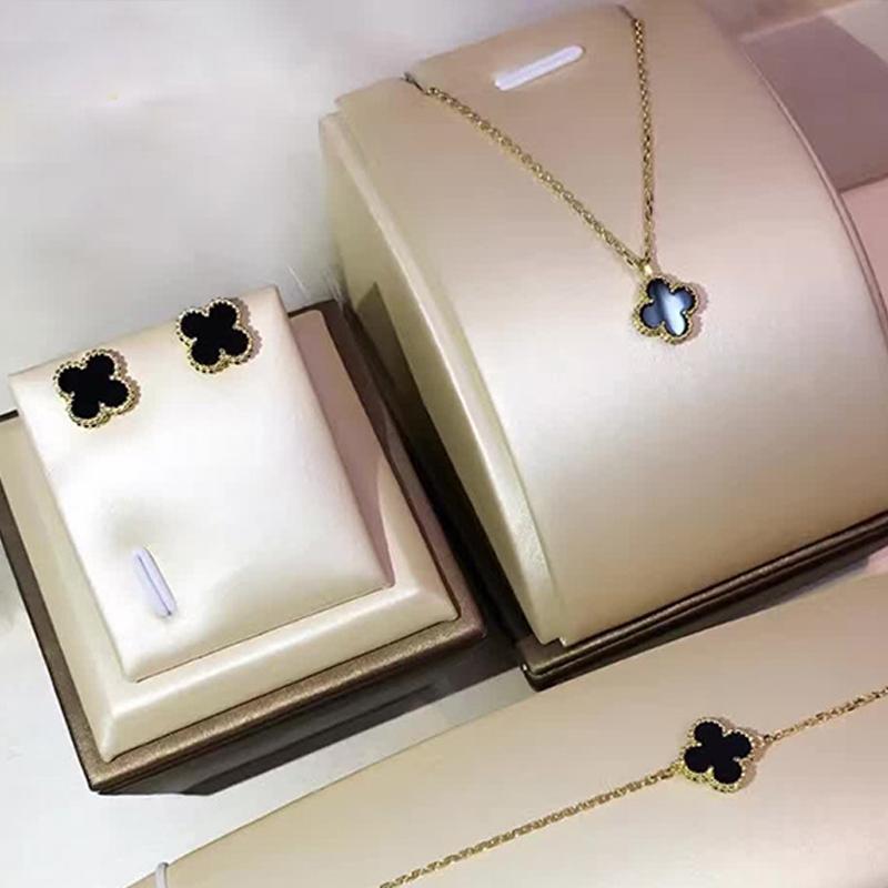 kløver sort agnat - dobbelt farve falder baibei kløver rose guld 18k gule guld 925 sterlingsølv koreanske.