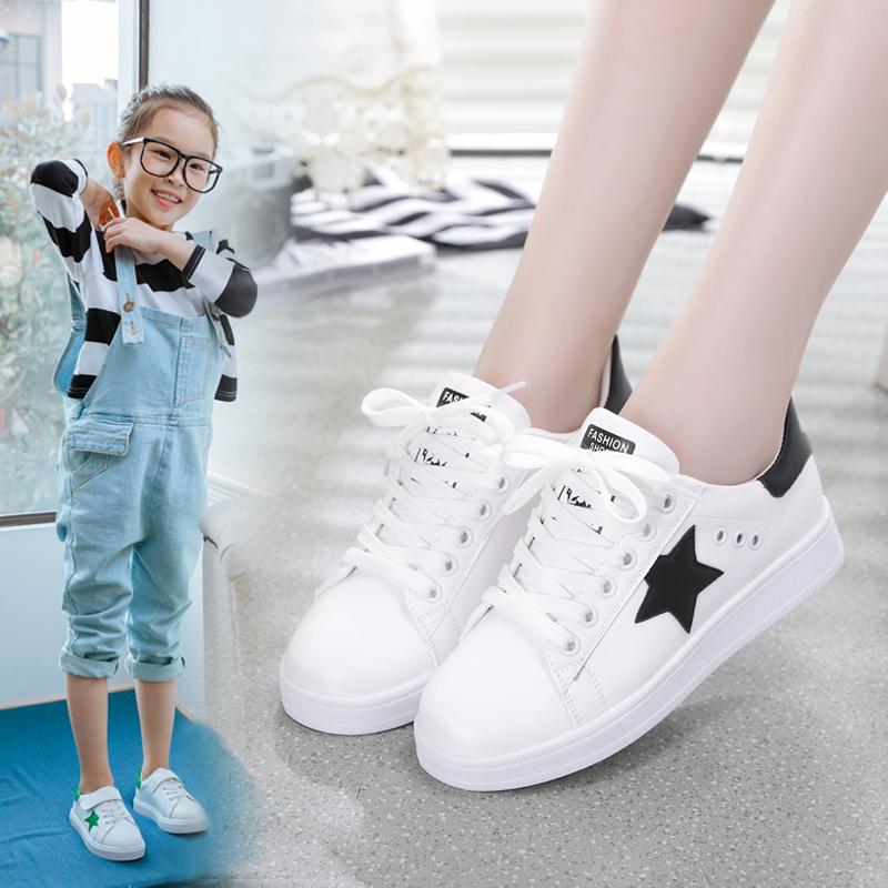 儿童女大童运动鞋女童小白鞋春秋休闲跑步鞋12-15岁小学生中童鞋