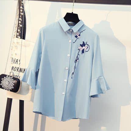 白色衬衫女短袖夏季新款百搭韩范翻领喇叭袖雪纺衫韩版刺绣衬衣