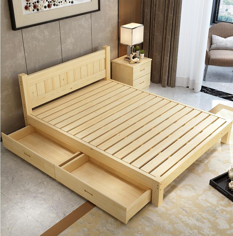Solid wood bed, 1..5 pine double bed 1.8 meters, modern simple adult bed rental room, 1.2 single bed bed for children