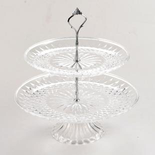透明三层水果盘亚克力两层果盘ktv塑料多层蛋糕盘创意双层果盘架