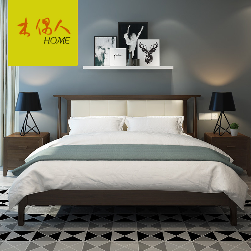 Solid wood soft bed, Nordic solid wood bed, simple modern 1.8 meter master bedroom, modern double marriage bed, single bed