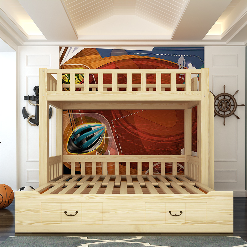 Solid wood sofa bed cluster children bed bunk bed bunk bed combination Tuochuang pull folding sofa bed letter