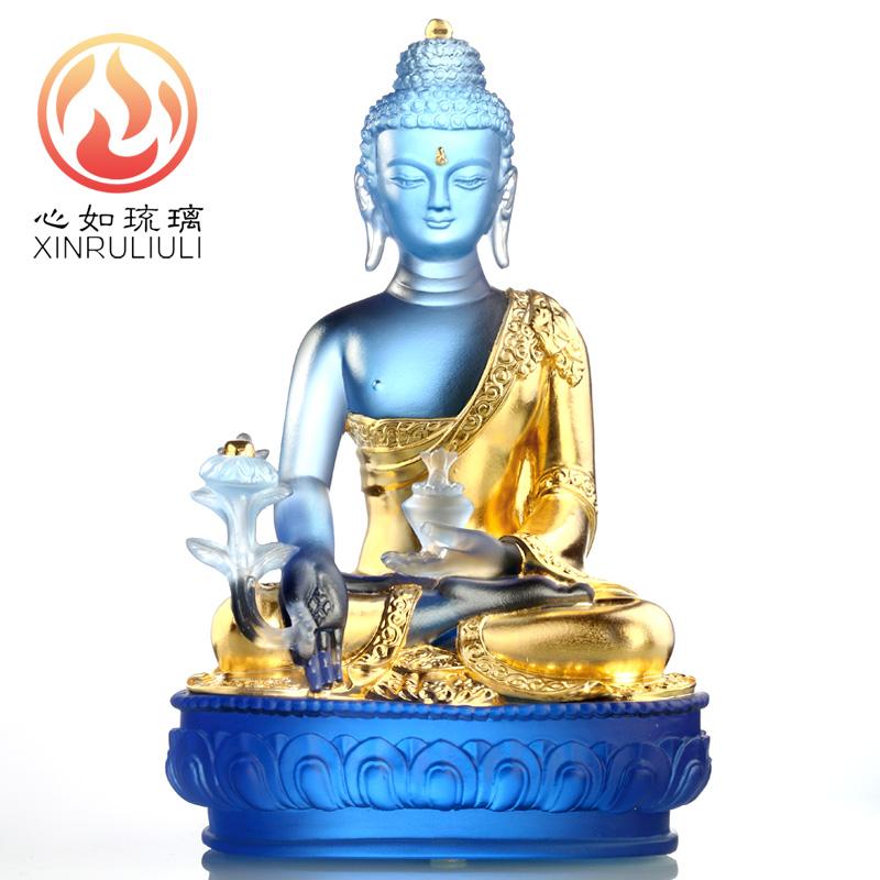 4寸心如琉璃佛像擺件琉璃藥師佛像藥師琉璃光如來寺廟家居供奉擺件