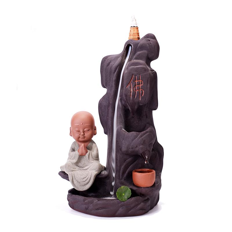 творческие вспять кадило Ароматерапия печи маленький монах проточной воды керамические украшения декоративных дым Будда украшения