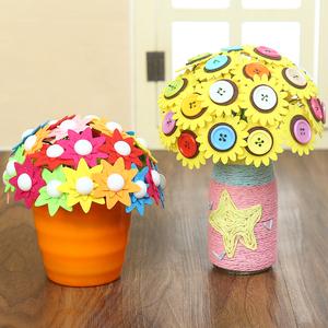 纽扣花束手工diy制作材料包 儿童幼儿园教师节创意礼物益智扣子画