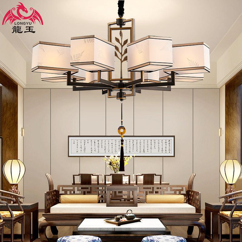 新中式吊灯客厅灯大气别墅现代复式楼仿古卧室餐厅吊灯具套餐组合