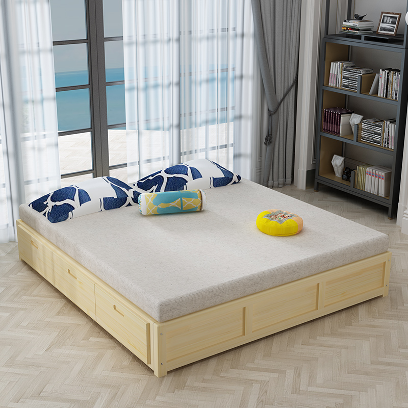 The high bed storage box bed frame of modern minimalist wooden bedstead double Zhuwo tatami bed 1.81.5