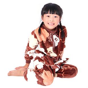 儿童睡袋中大童冬款加厚法兰绒婴儿宝宝长袖双层三层连体衣防踢被