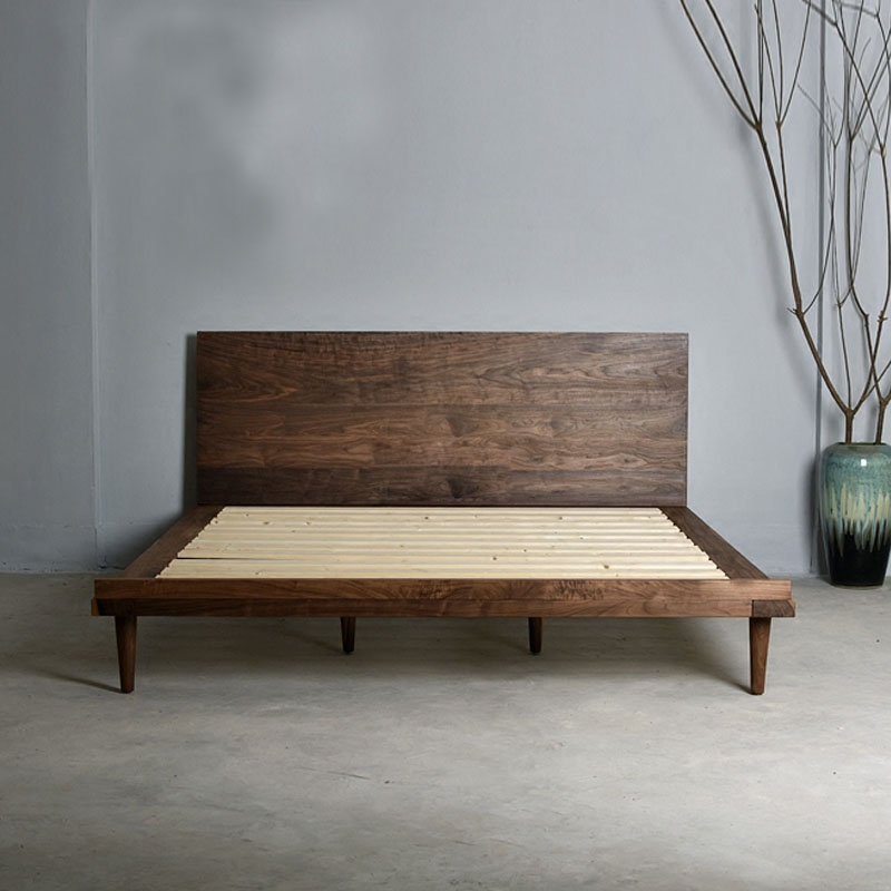 Nordic furniture, new Chinese solid wood bed, Japanese oak solid wood bed, North American walnut double solid wood bed can be customized