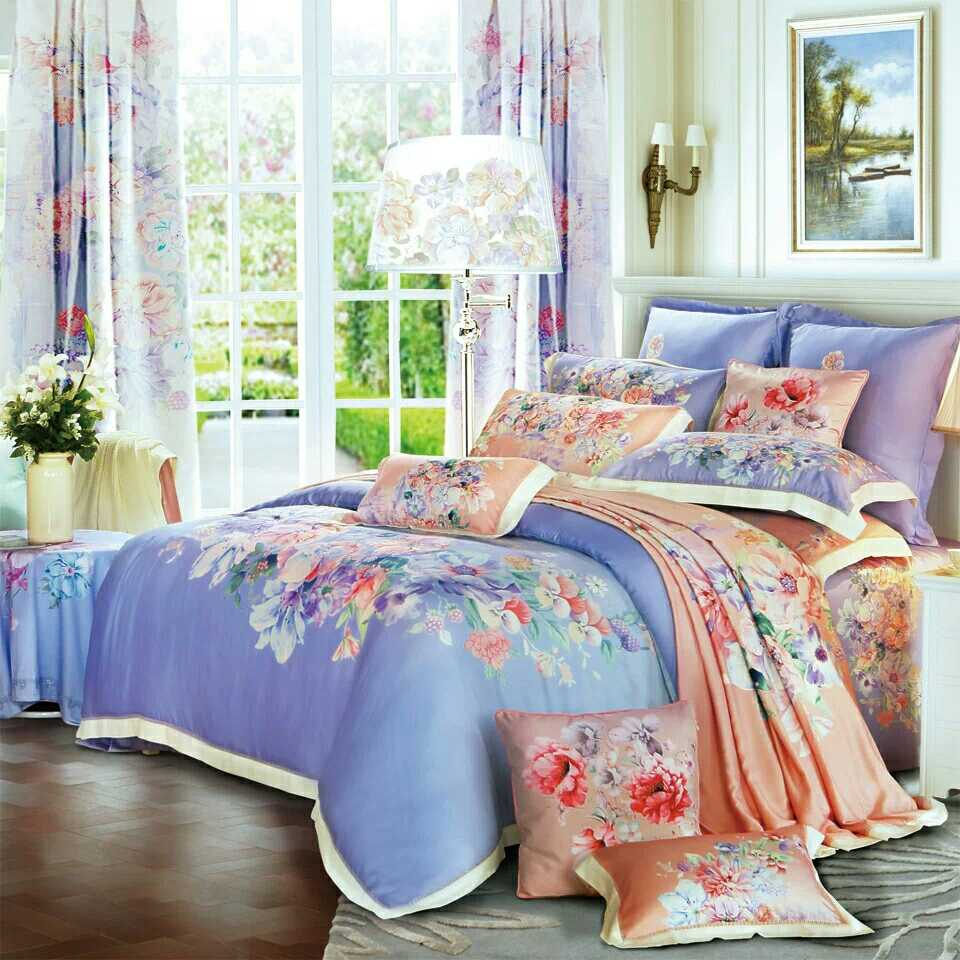 Four sets of double mercury textile Tencel new spring and summer 60 European printing AYM117-K04 quiet flowers