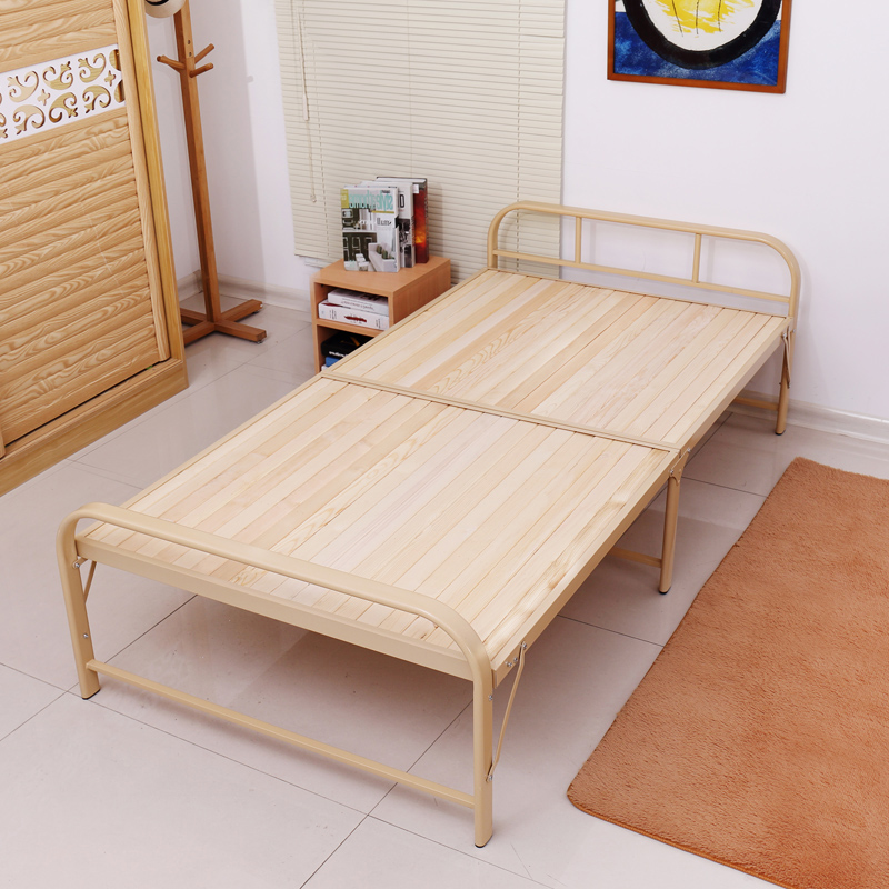 Folding bed, double single bed, 1.2 meter solid wood, adult lunch bed, wooden bed, 1 meters simple bed for children