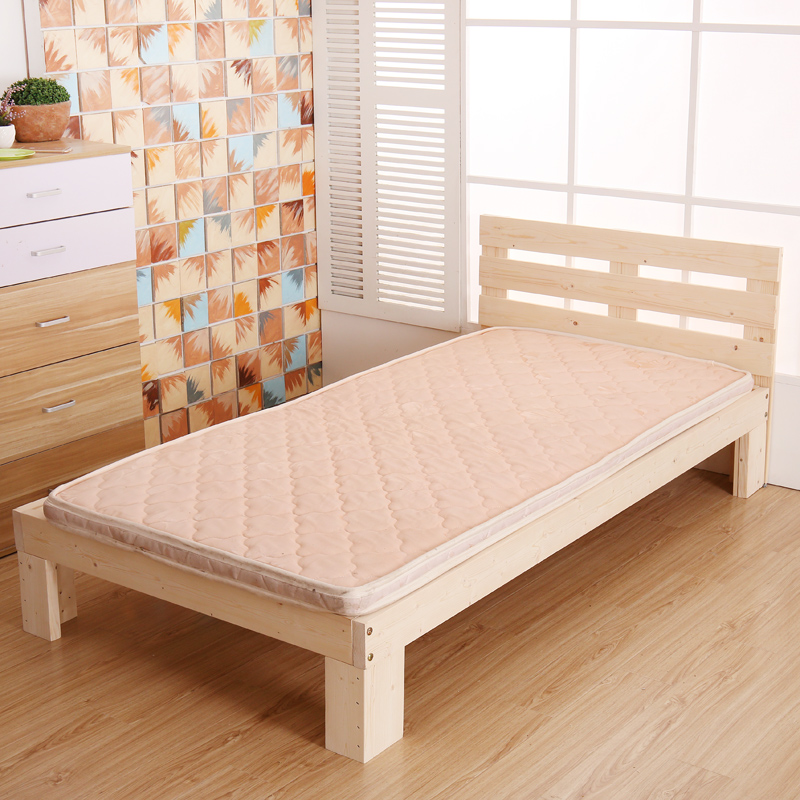 The simple wooden bed single bed double bed pine 1.2 1.8 1.5 m 1 m hard bed Korean tatami bed