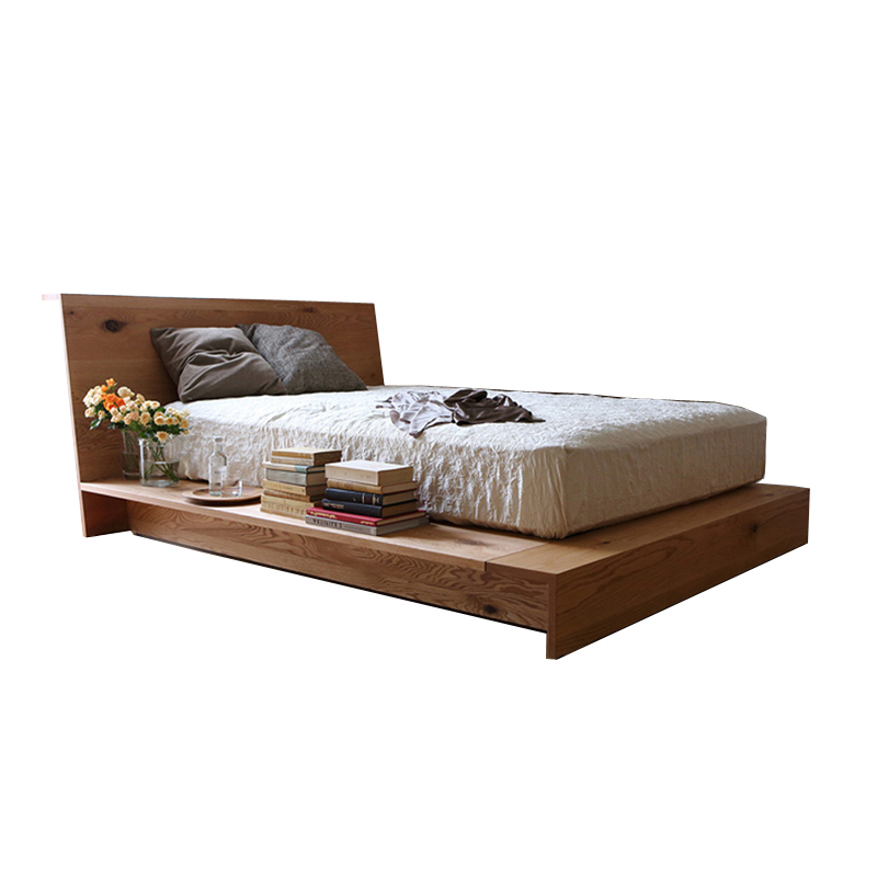 Simple black walnut, solid wood bed, oak double bed, marriage bed, bedroom furniture, Japanese solid wood bed, wood wax oil