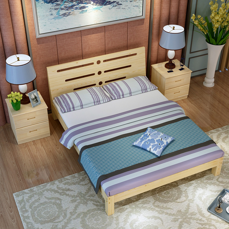 Simple solid wood bed, 1.5 meter economy rental room, bed double bed, children's simple bed, simple modern