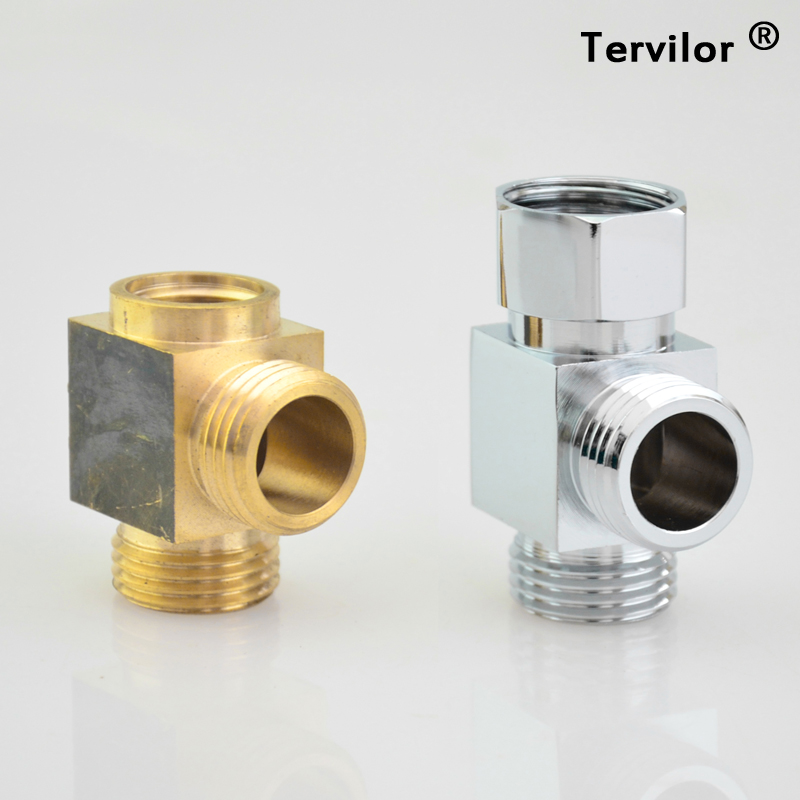 Water pipe three way switch head, all copper interface one out of two live transition head four points inside and outside the silk water diversion valve triangle valve