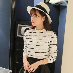 2017新款潮女衬衫长袖条纹学院风春秋韩版白色开衫衬衣打底上衣