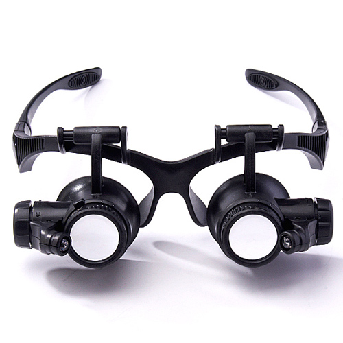 Eyeglass maintenance magnifying mirror, double eyes with LED, 10 times, 15 times, 20 times and 25 times four lenses