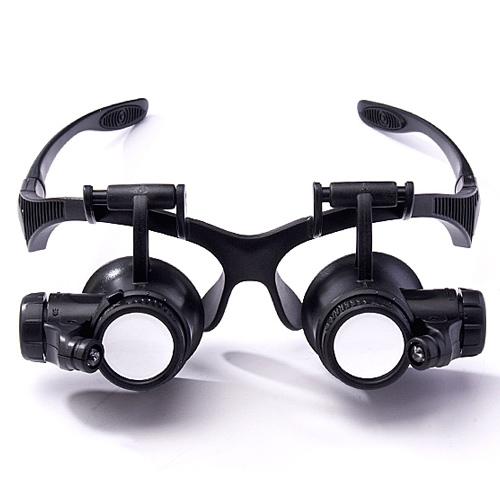 надел очки типа обслуживание лупа глаза светодиодные лампы с HD в 10 раз в 15 раз в 20 раз в 25 раз четыре группы линзы