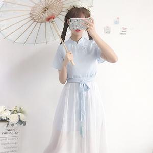 2018新款夏季女装韩版学生宽松日系甜美古风俏皮套装两件套连衣裙