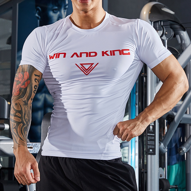 New style muscle tights, short sleeved men's breathable printed letters, white running trainers, training suits
