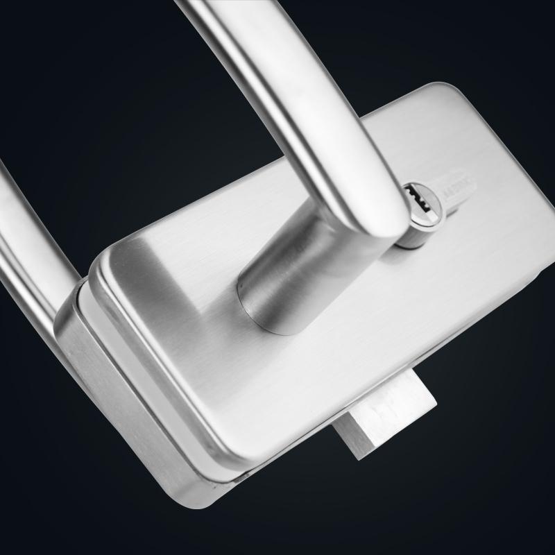 Fechadura porta de vidro com fechadura porta de vidro DUPLO com um único cabo de aço inoxidável porta vidro trava central.